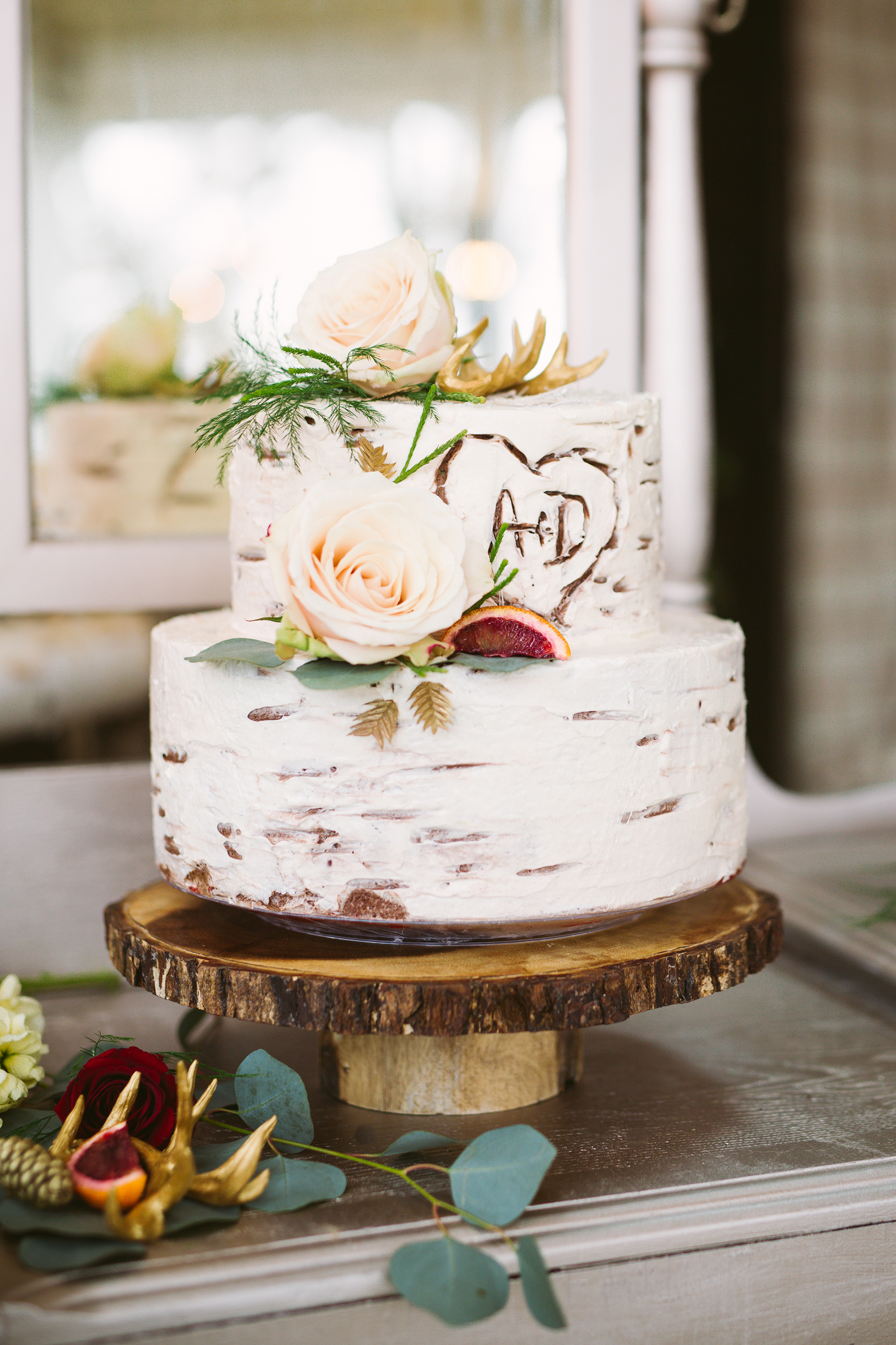 Small Birch Tree Wedding Cake