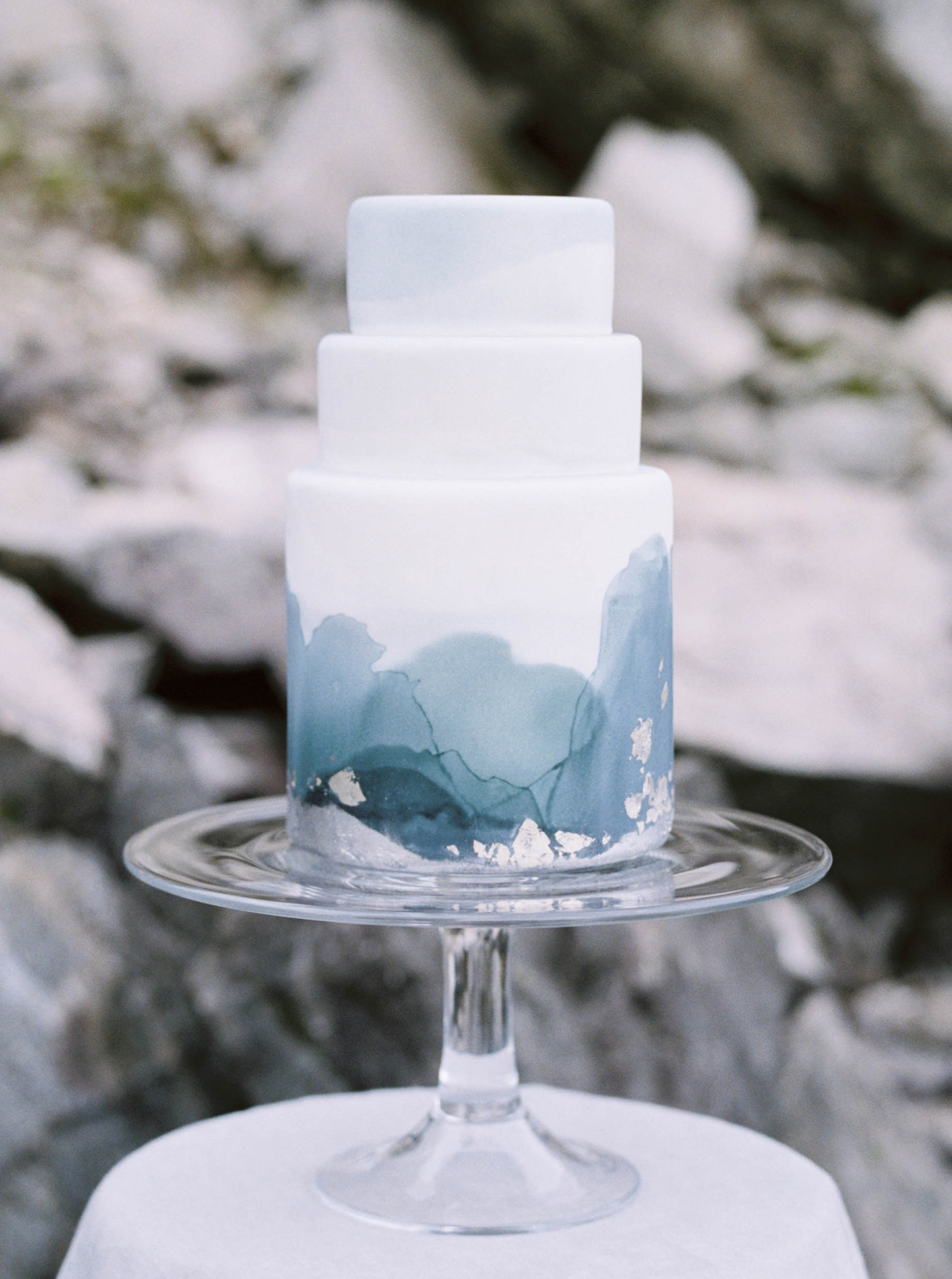 Blue and White Watercolor Wedding Cake