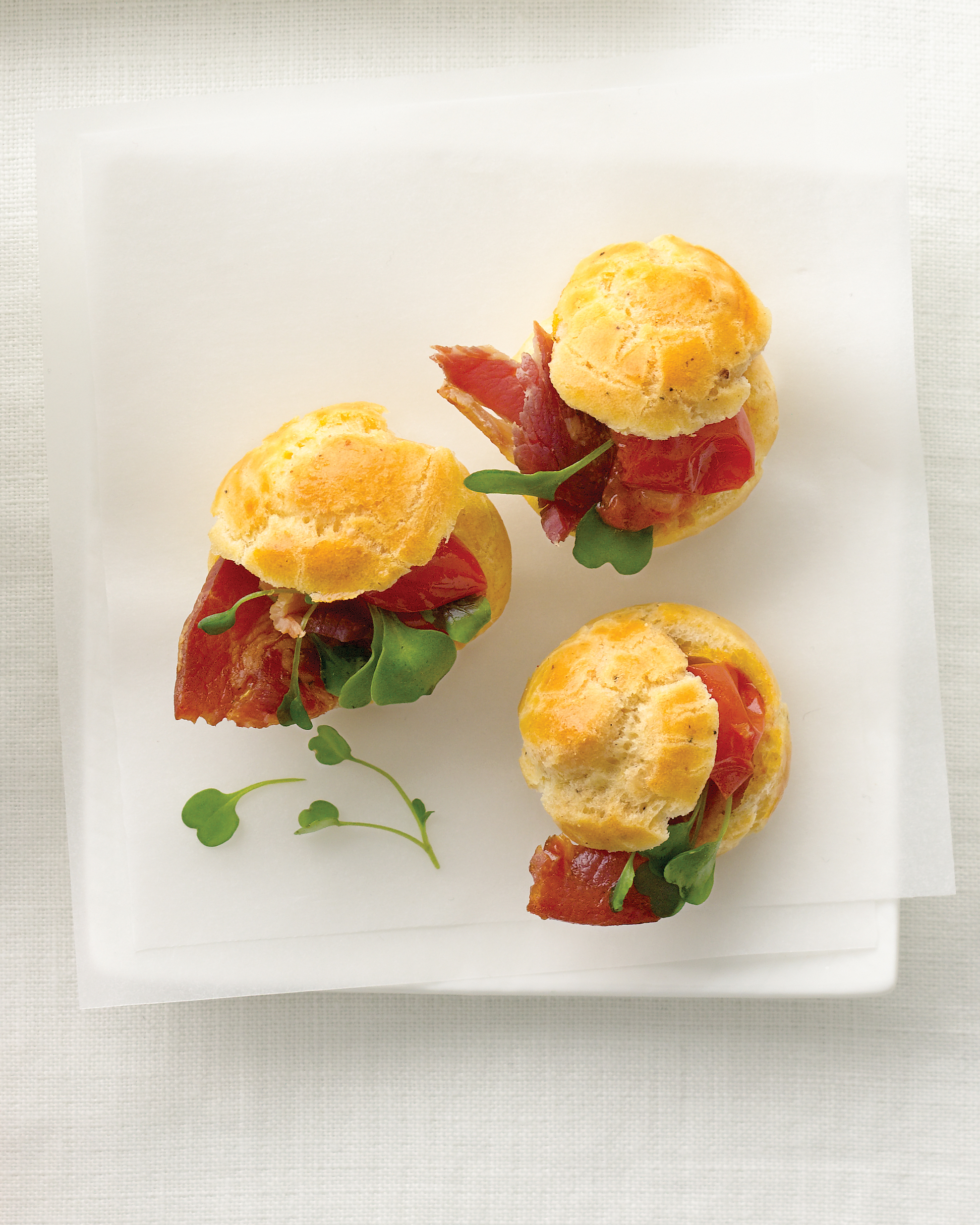 Black Pepper Gougeres with Pancetta and Tomato