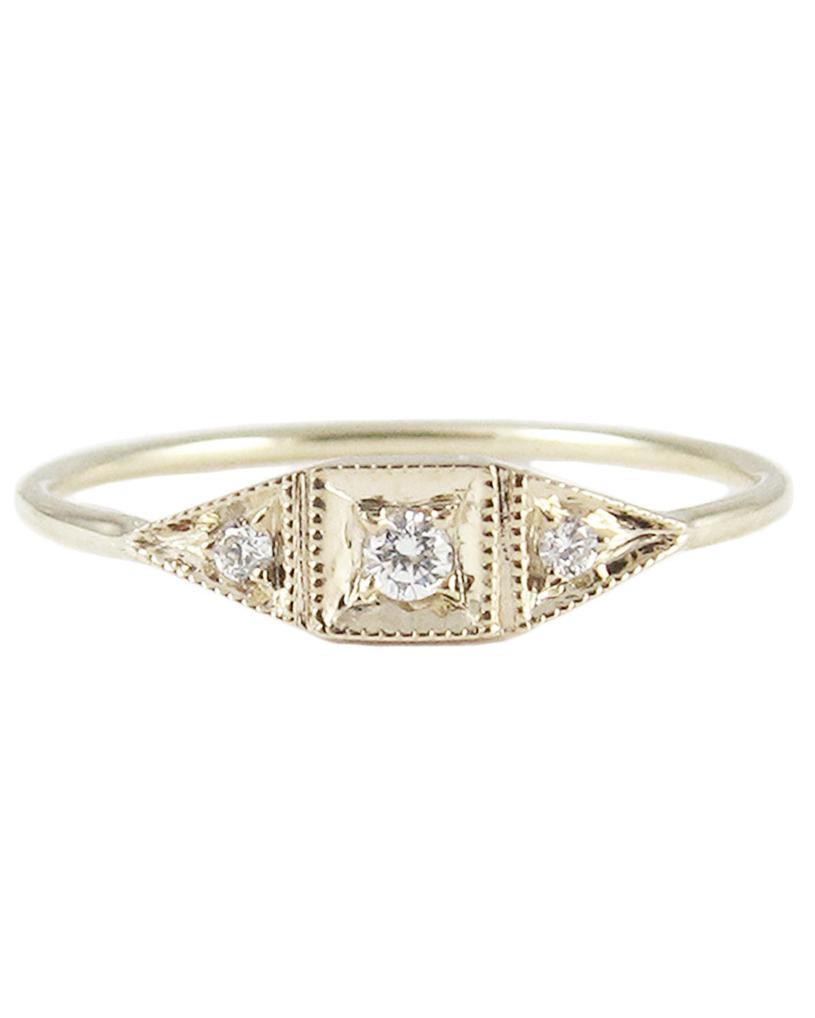 Jennie Kwon Mini Deco Point Diamond Ring
