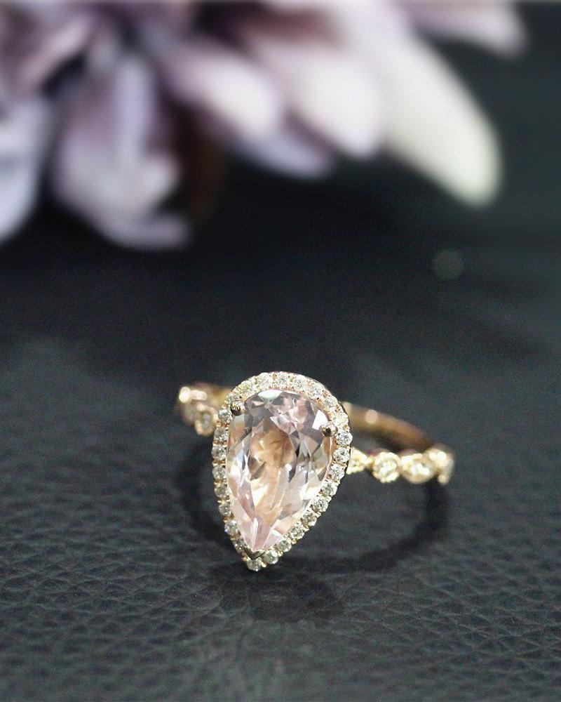 Nida Rings Pear-Cut Natural Pink Morganite Ring