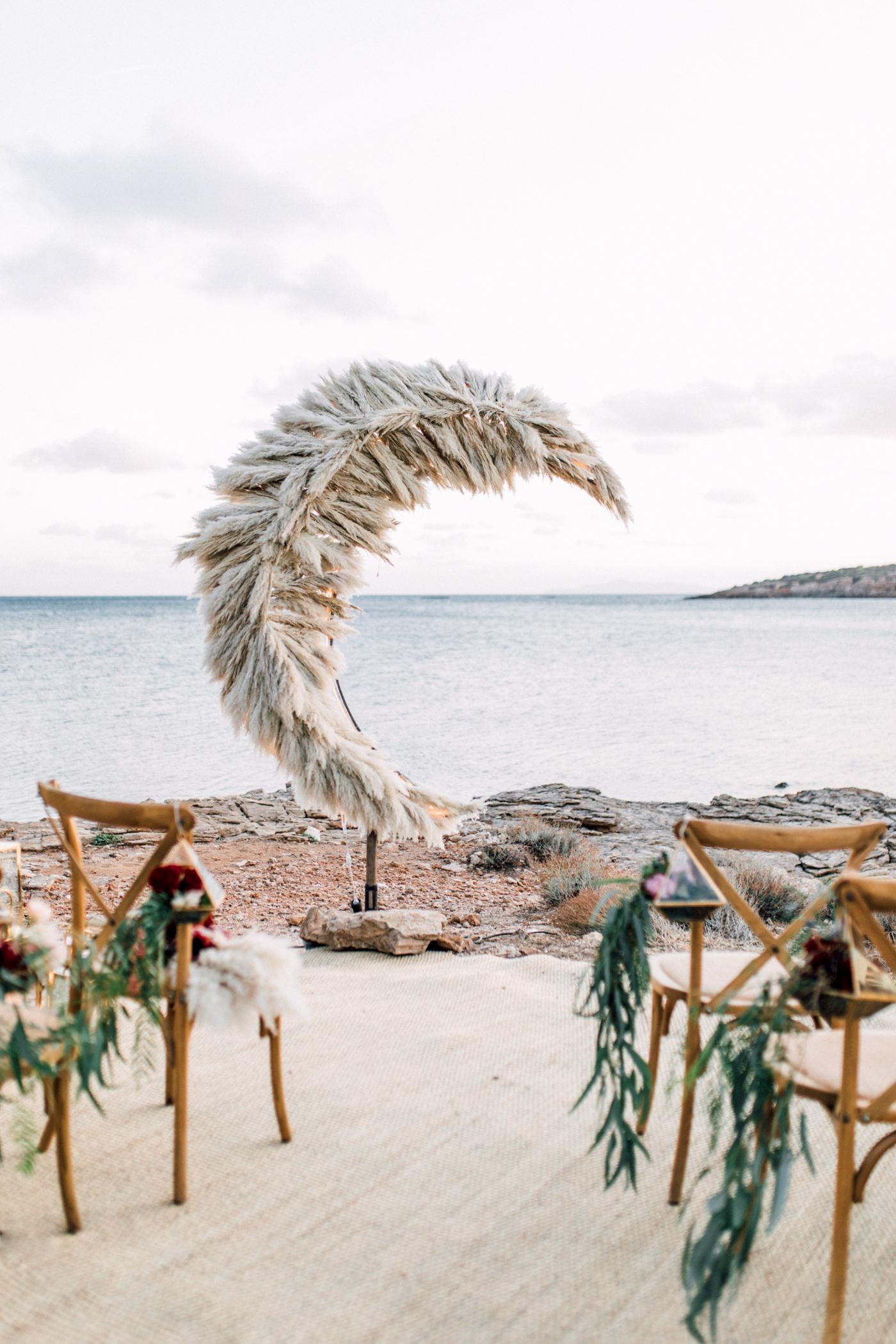 crescent moon wedding backdrop pampas grass waterfront