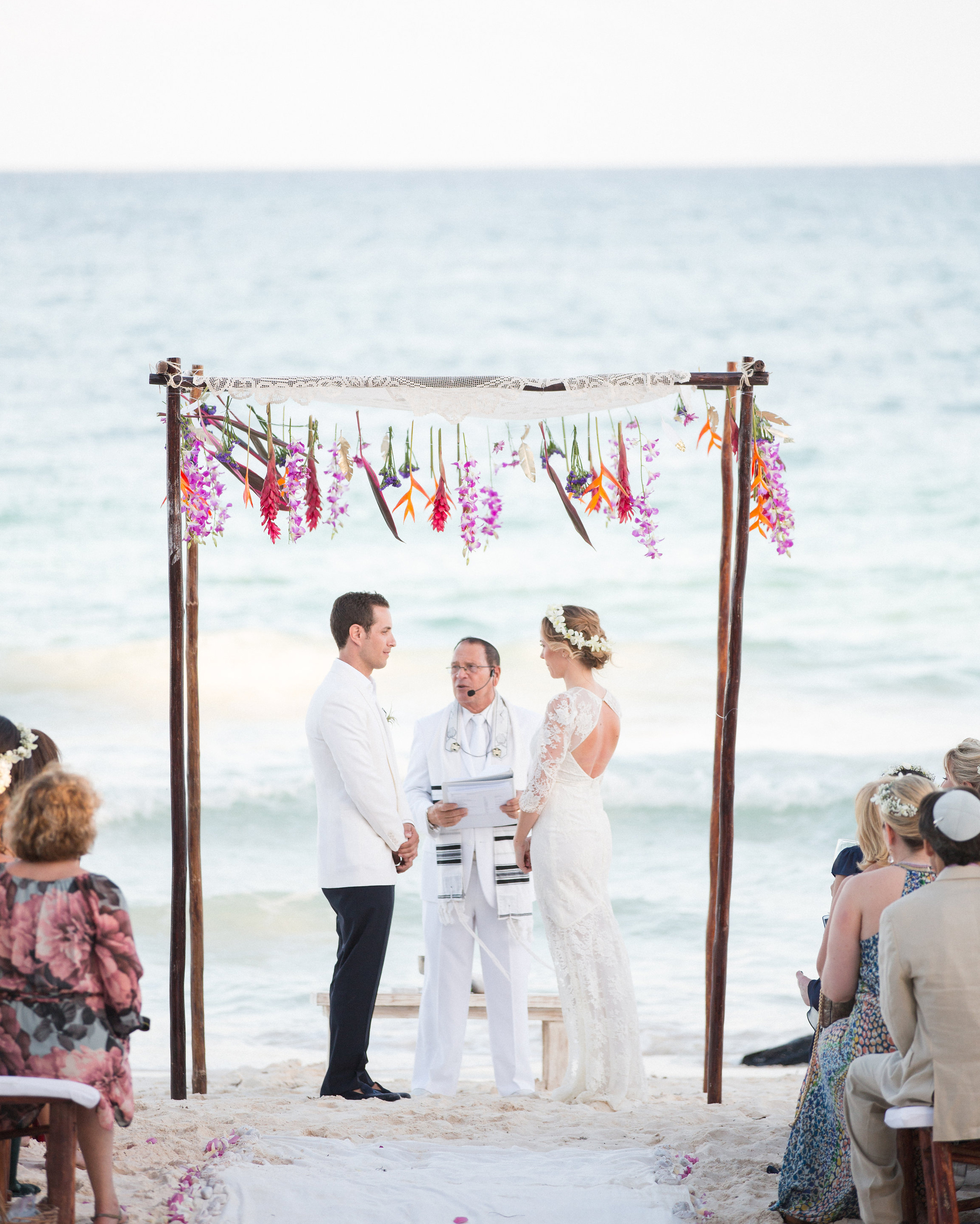 Beach Wedding Ceremony Processional: Olivia And Keith's Dia De Los Muertos Beach Wedding