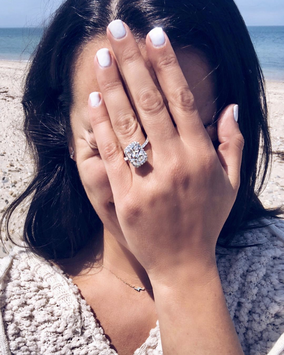 lea michele engagement ring by beach