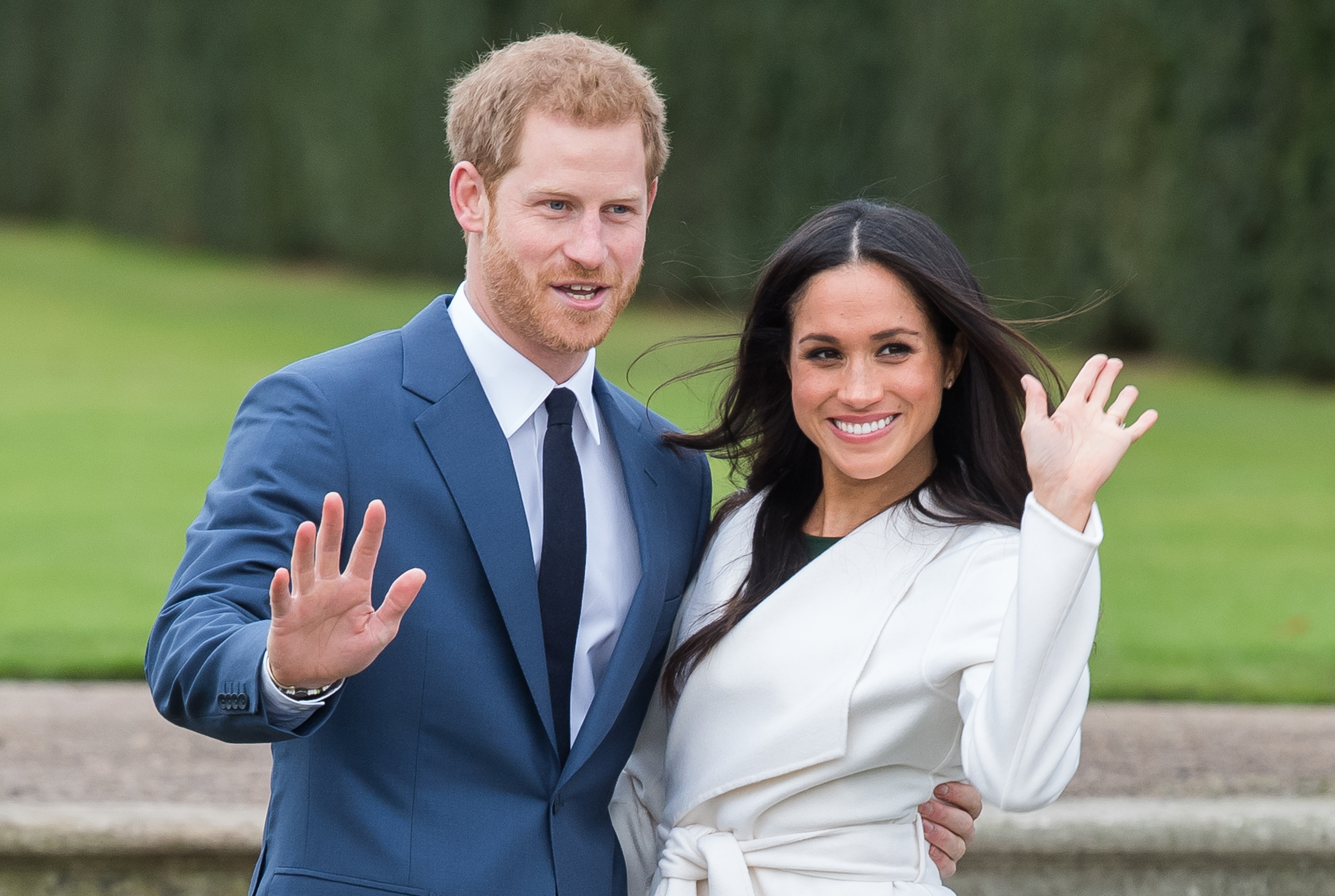 Prince Harry Meghan Markle Engagement Photos Waving Smiling