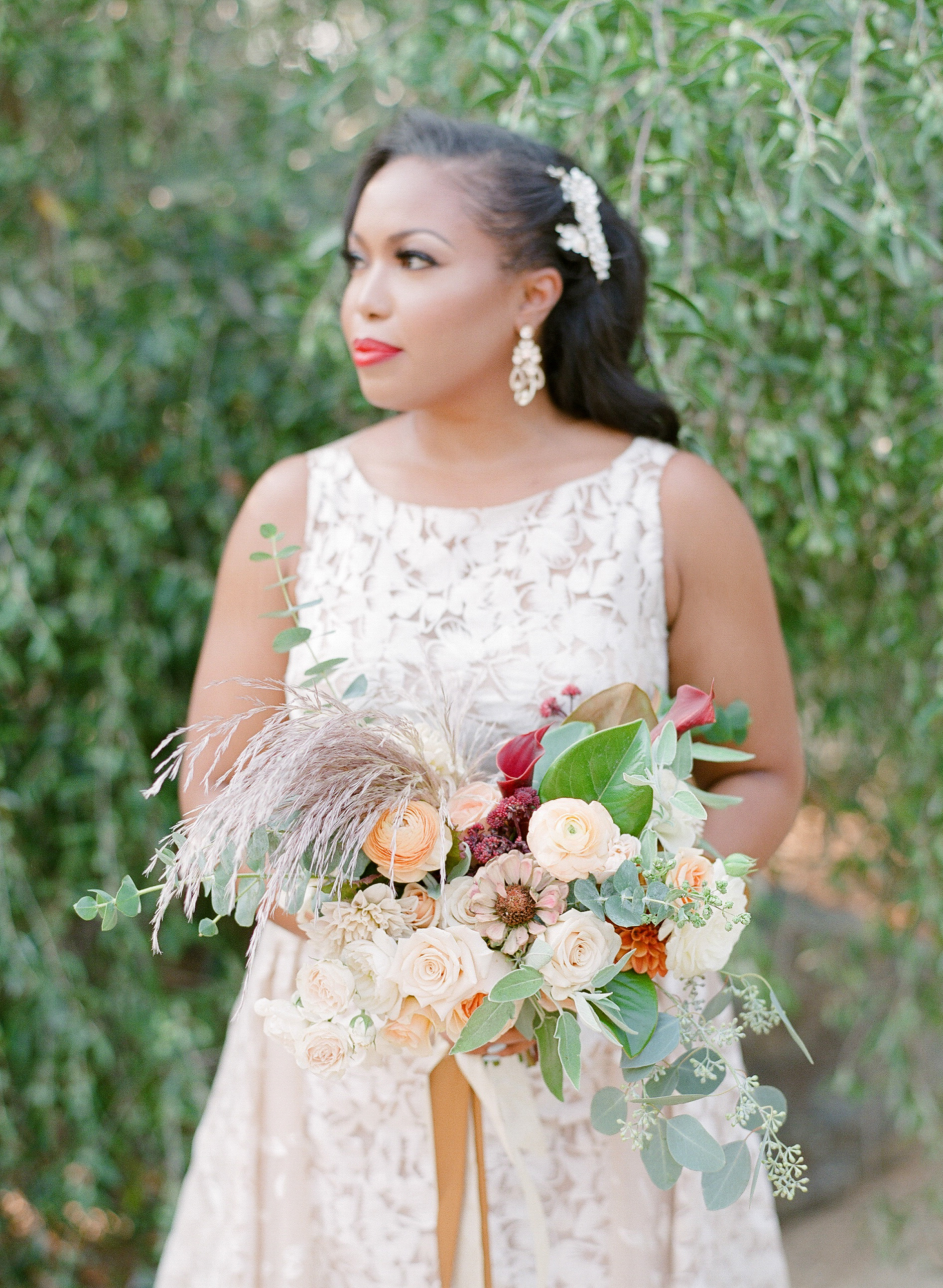 bold lipstick waiting bride with bouquet