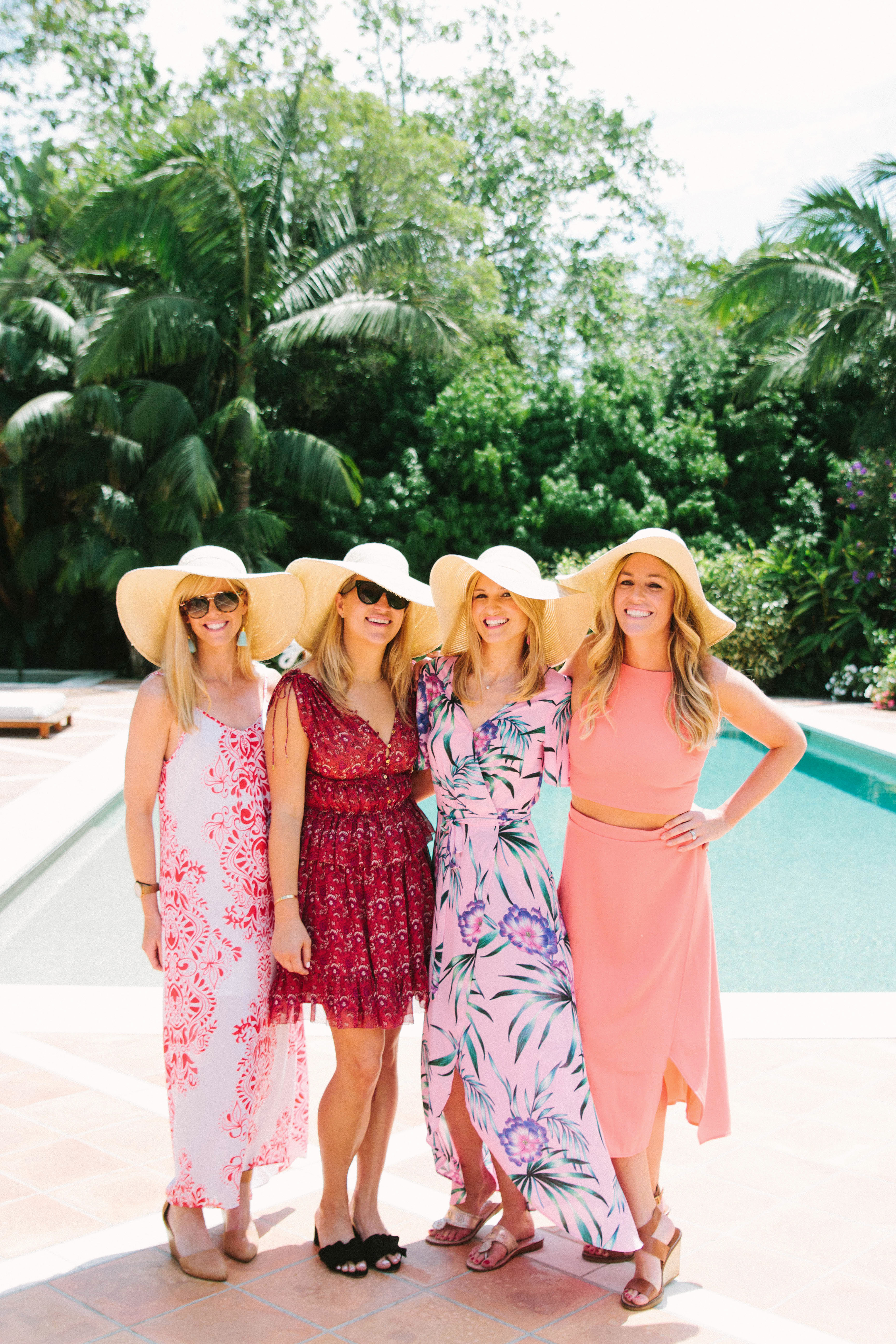 bridal shower guests by pool