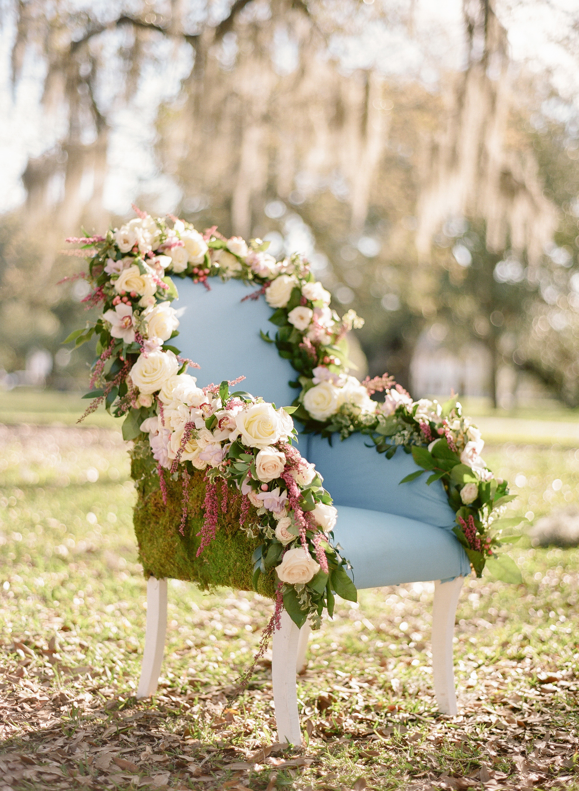 chair decorated with flowers