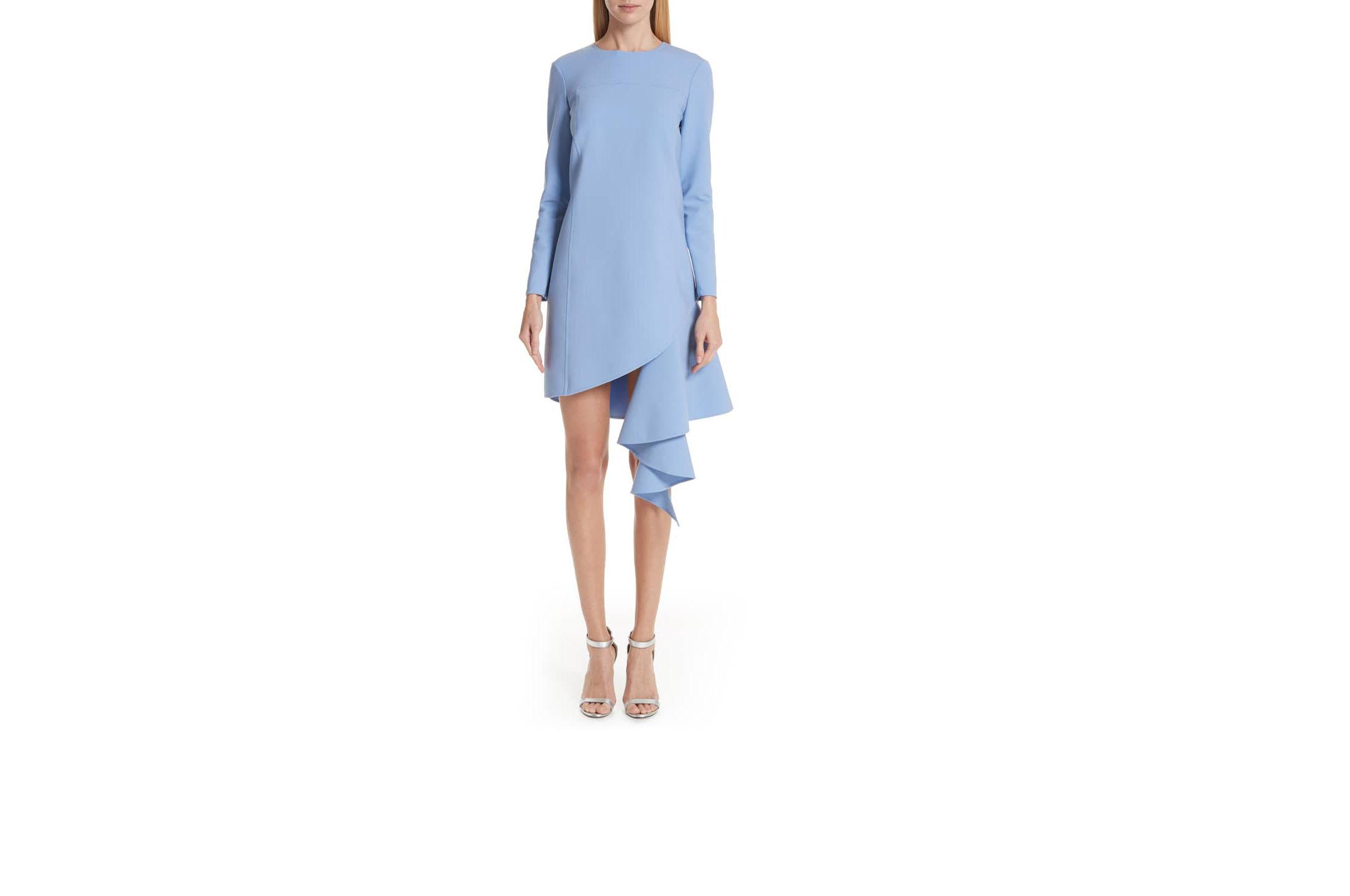 oscar de la renta baby blue asymmetrical ruffle hem stretch dress