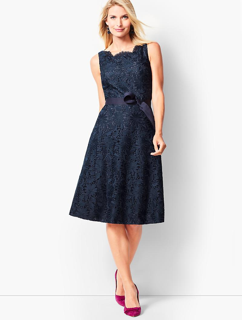 talbots blue lace fit and flare dress