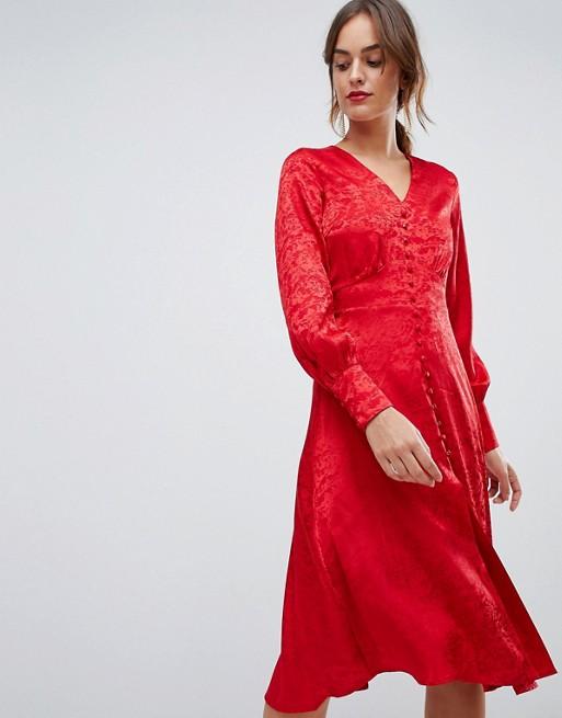 yas jacquard button through dress red