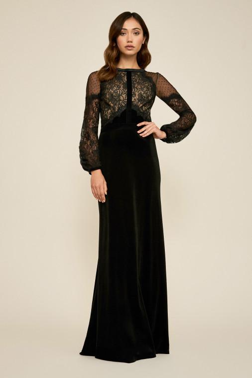tadashi shoji tullia long sleeve lace bodice gown