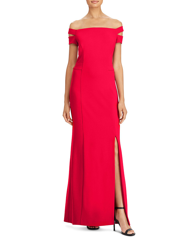 off-shoulder red dress