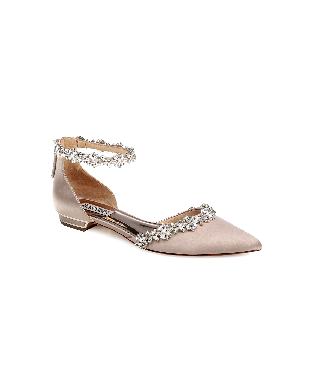 outdoor wedding shoes pointed crystal-embellished flats