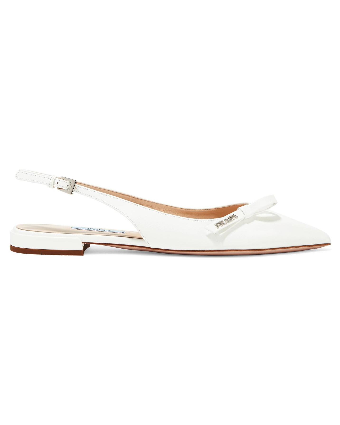 outdoor wedding shoes leather bow-embellished sling-back flats