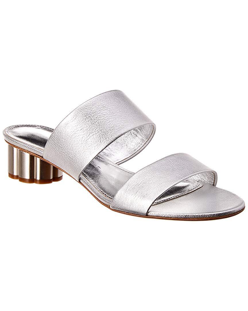 outdoor wedding shoes flower-heel metallic leather sandals