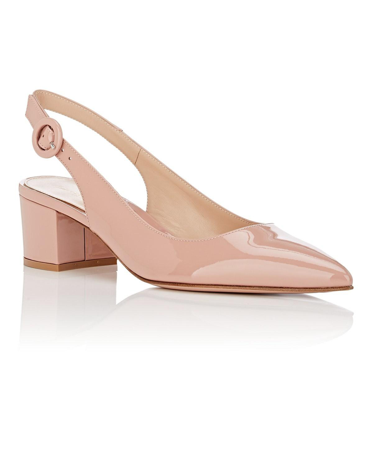 outdoor wedding shoes patent leather sling-back pumps