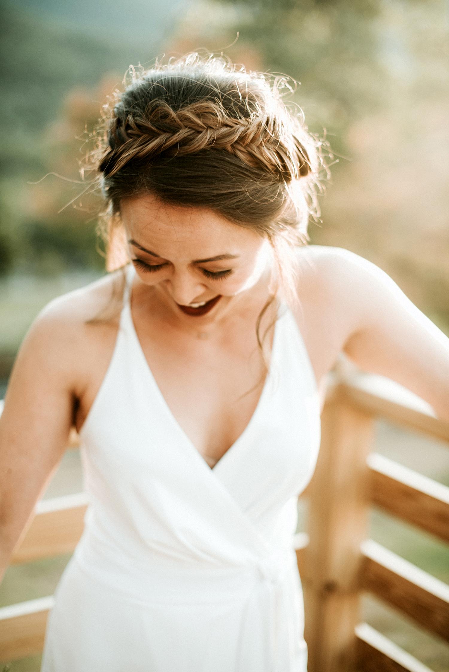 boho bride with milk maid braid