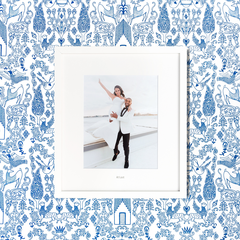 blue patterned frame