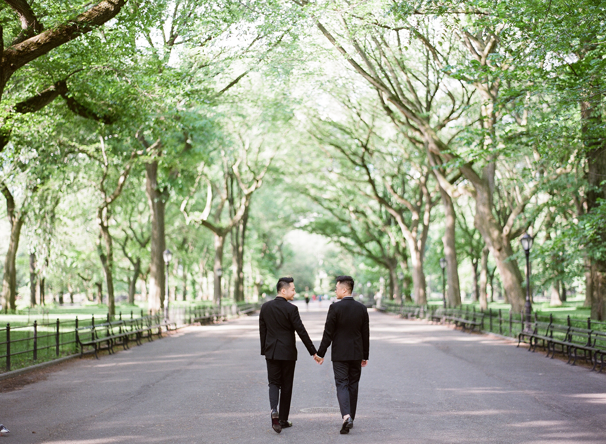 couple walking through central park