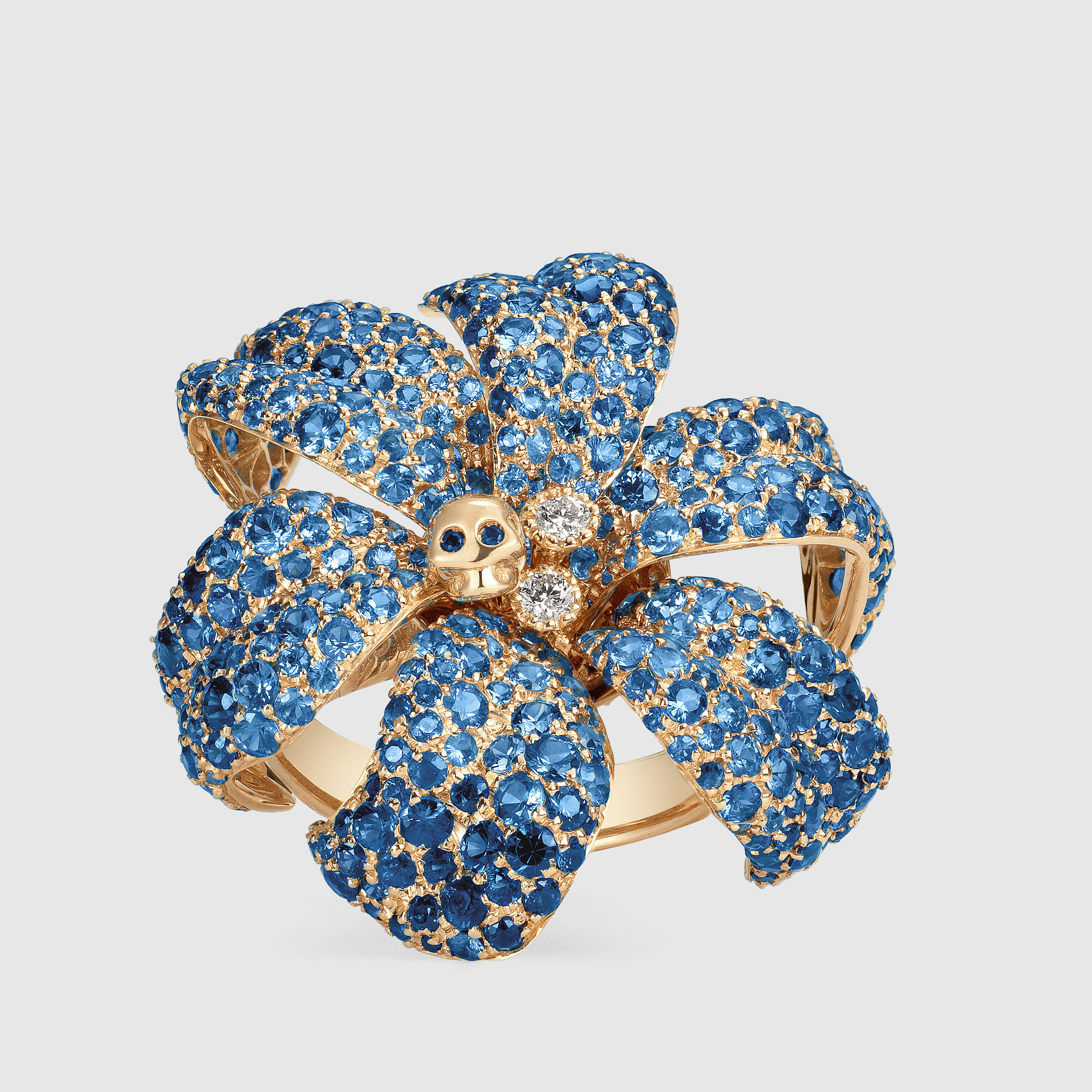 flower blue and gold ring