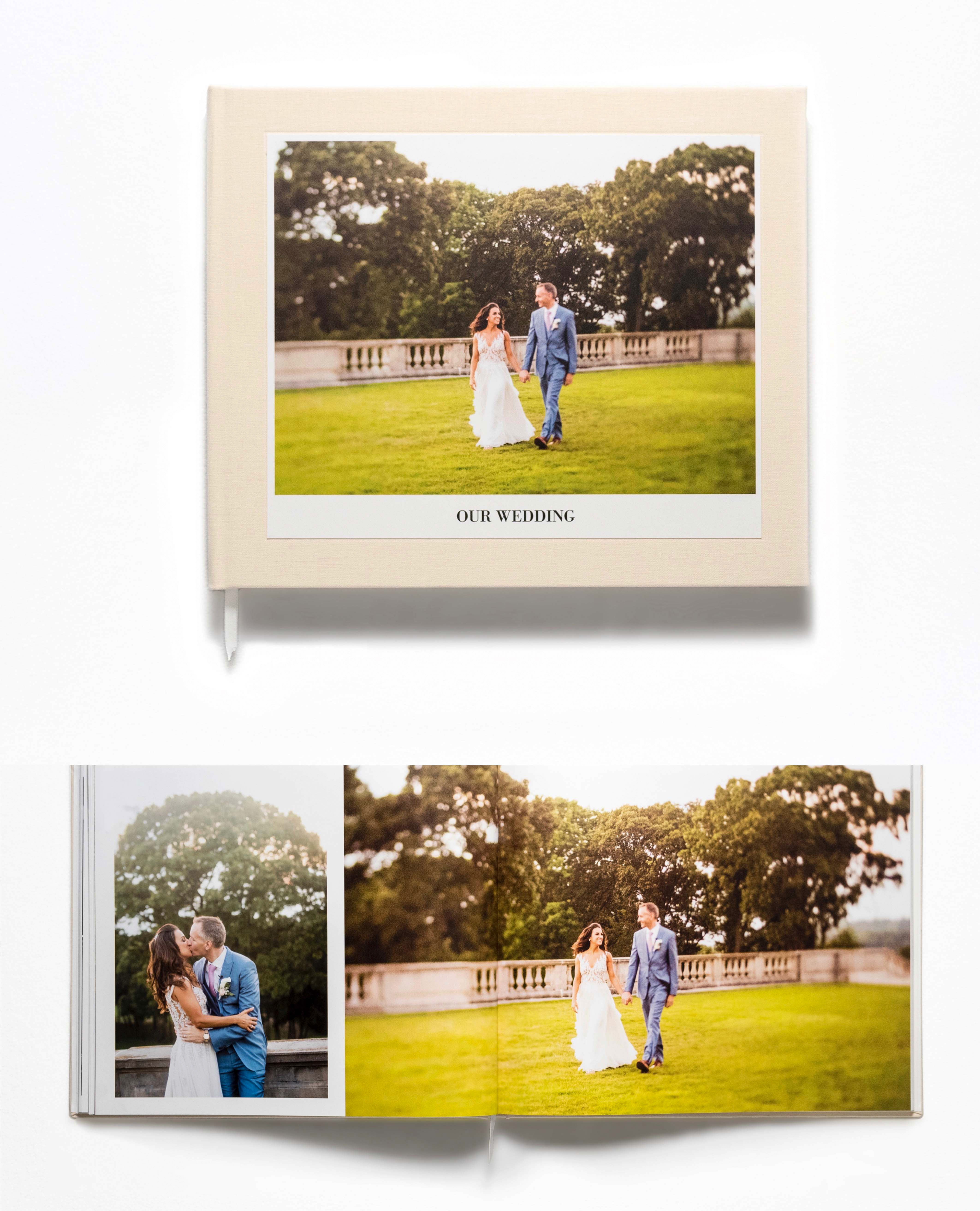 wedding photo albums hardback cover open book below