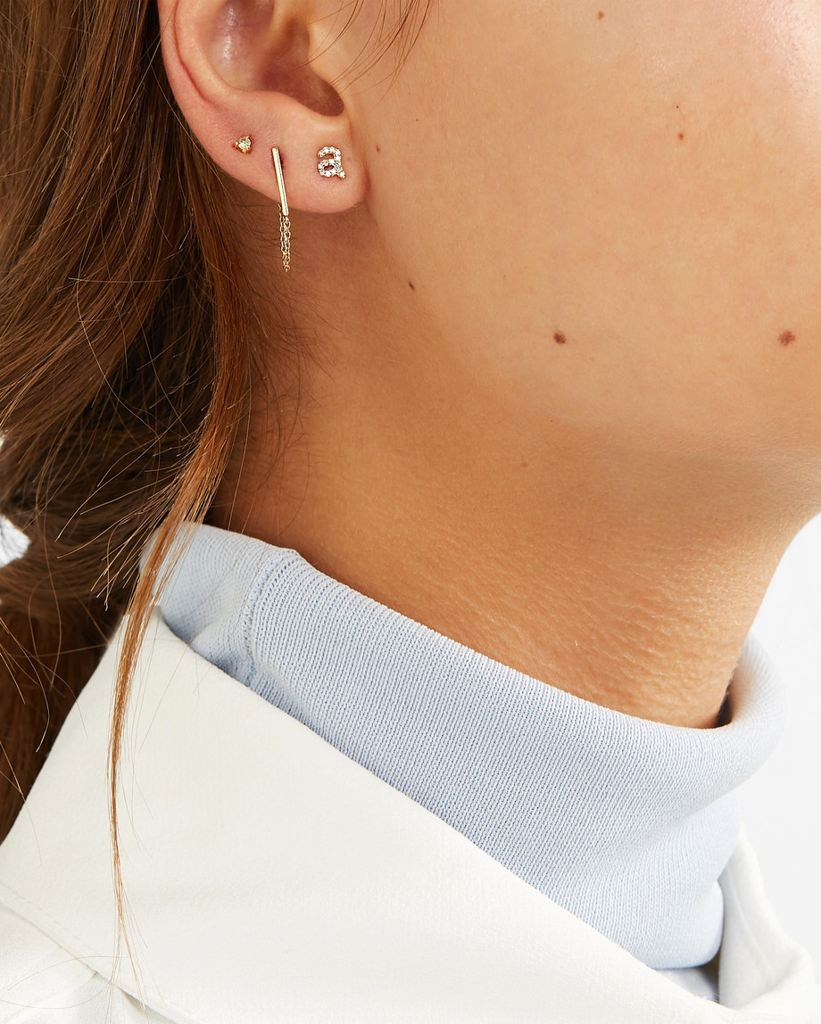 personalized bridesmaids jewelry gift single initial earring