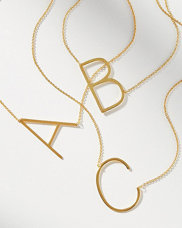 personalized bridesmaids jewelry gift oversized initial necklace
