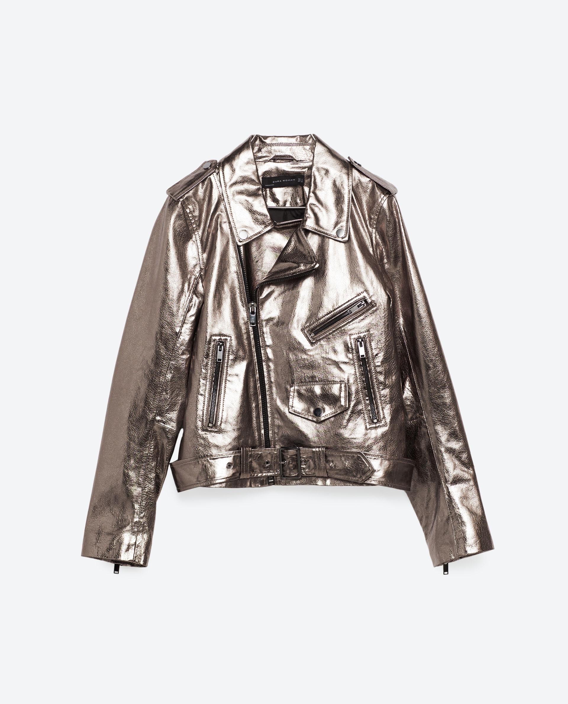 Zara Metallic Leather Jacket