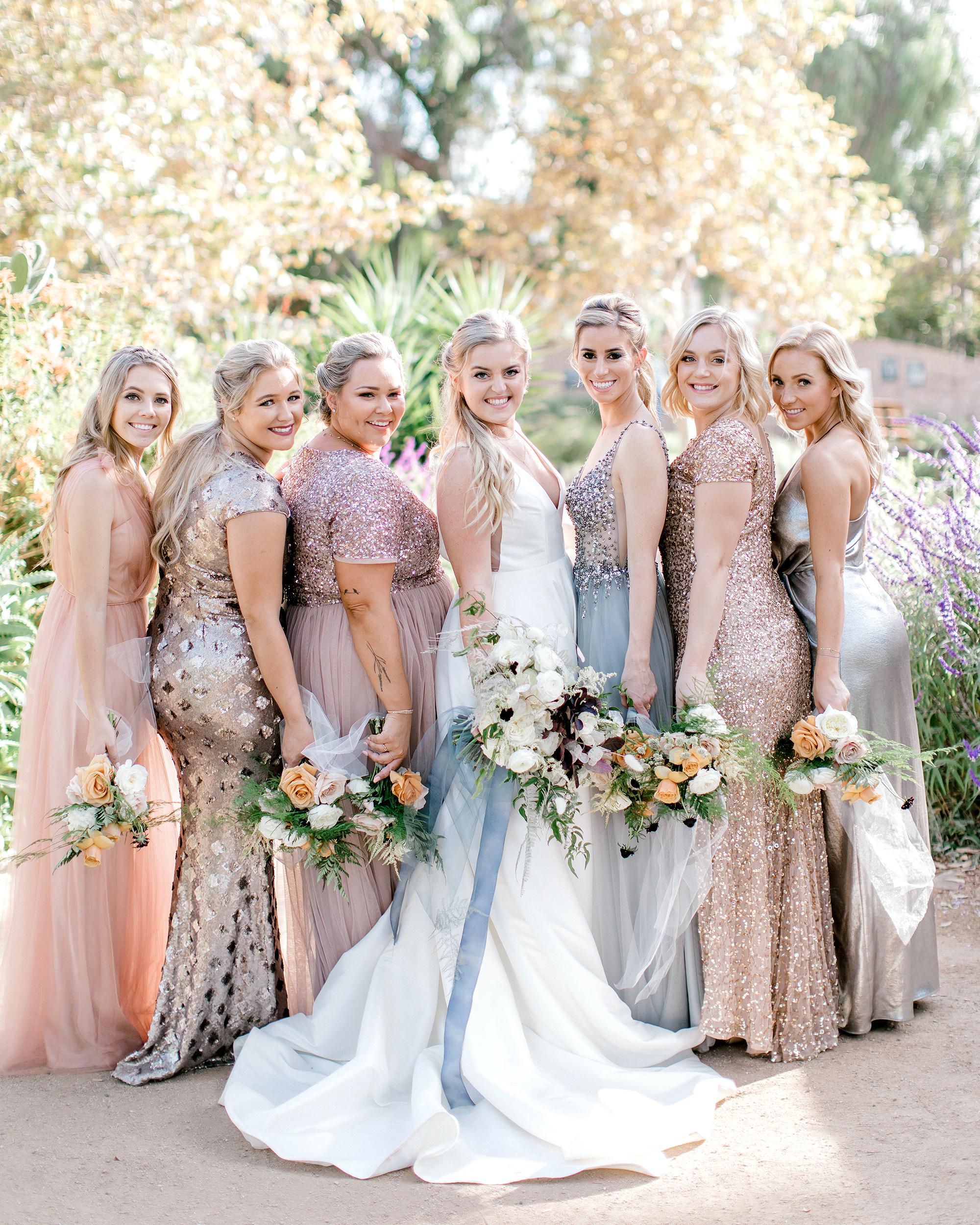 metallic wedding bridesmaids dresses with bride