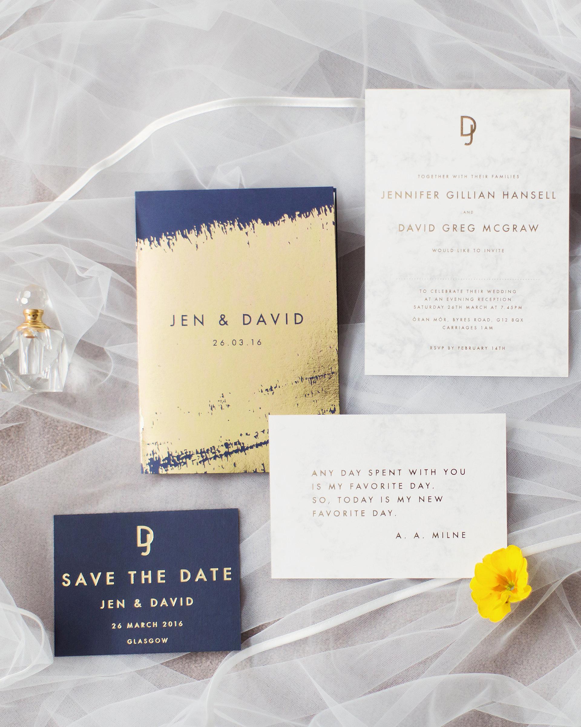 metallic wedding stationary invitation