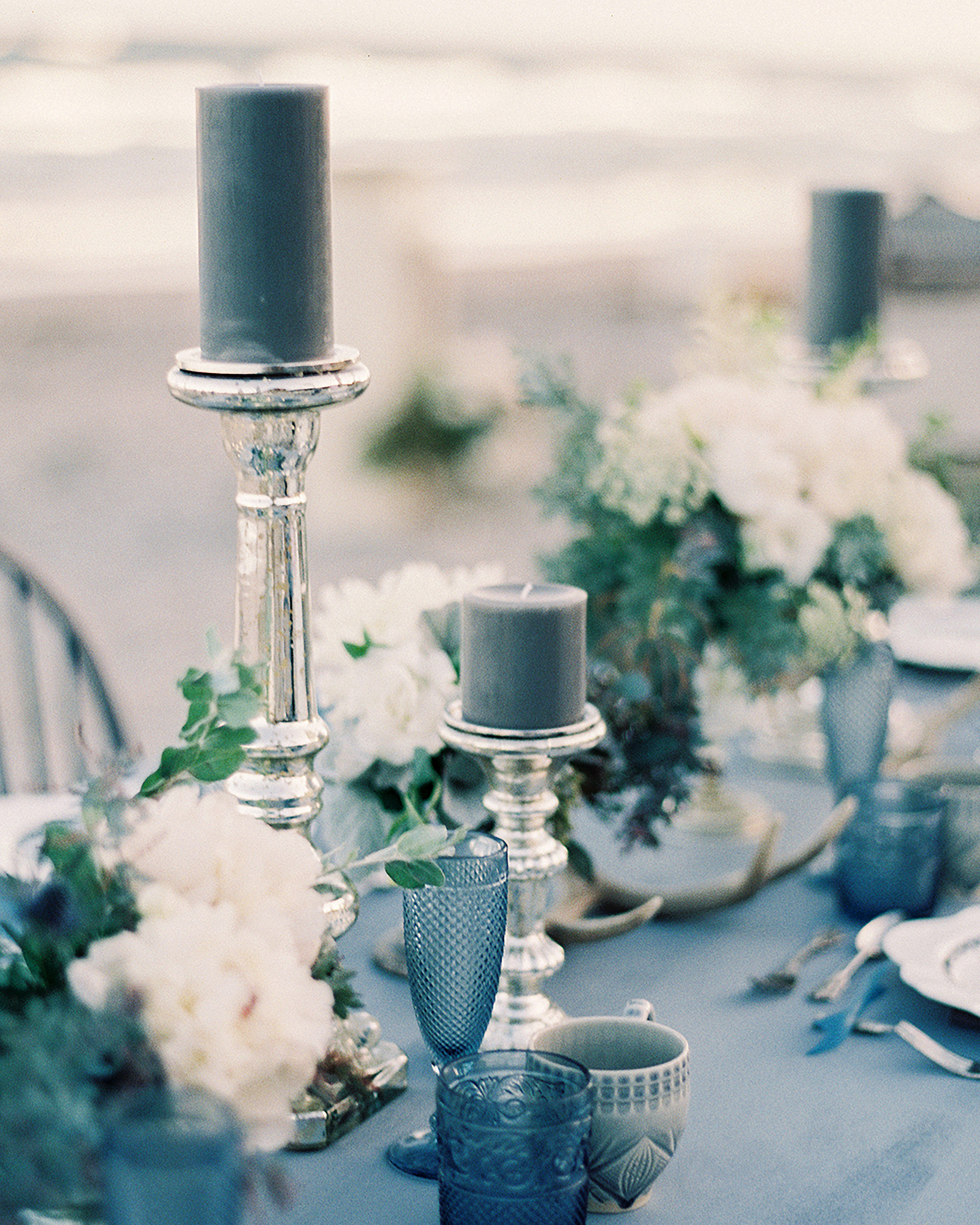 metallic blue and silver wedding candlesticks and cups