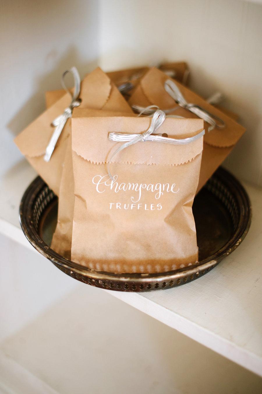 champagne truffles favor bag