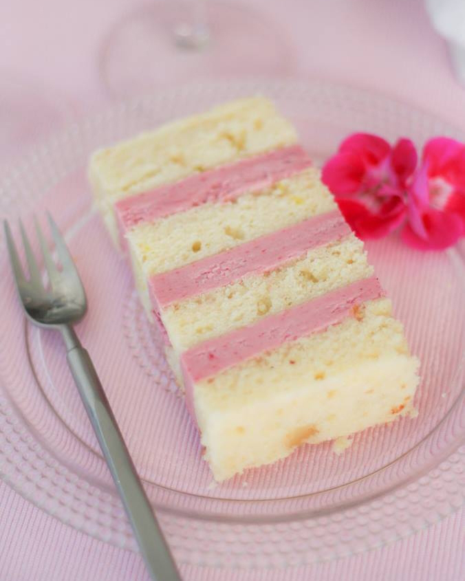 Lemon Verbena Zested Cake with Raspberry-White Chocolate French Buttercream