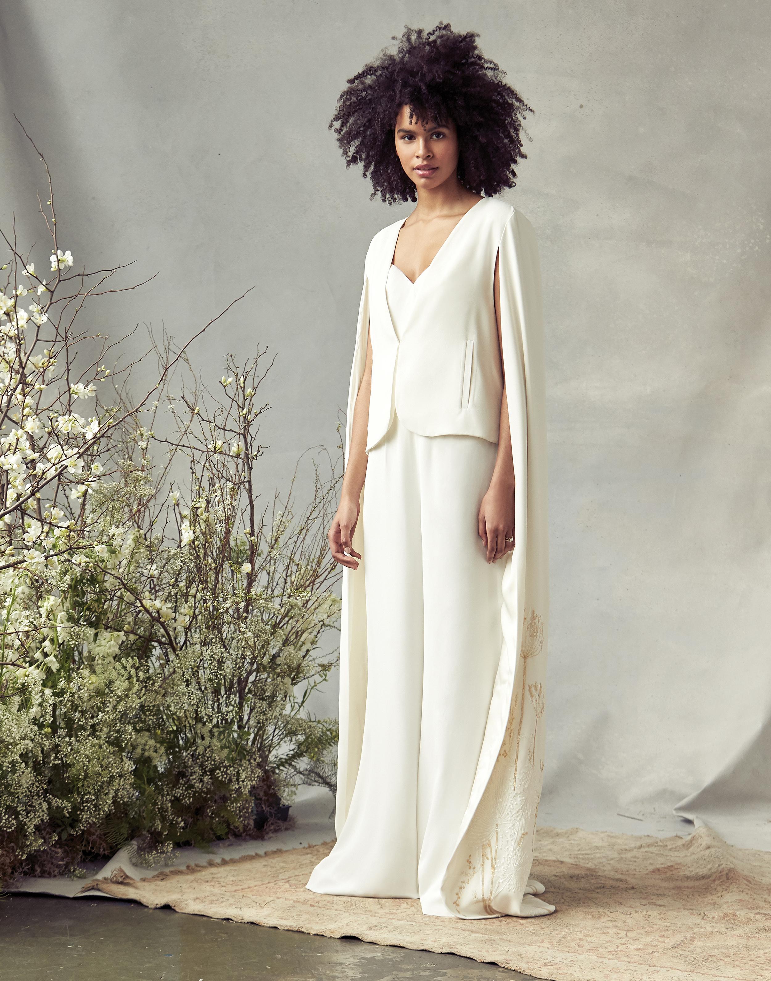 savannah miller v-neck with vest cape wedding dress spring 2020