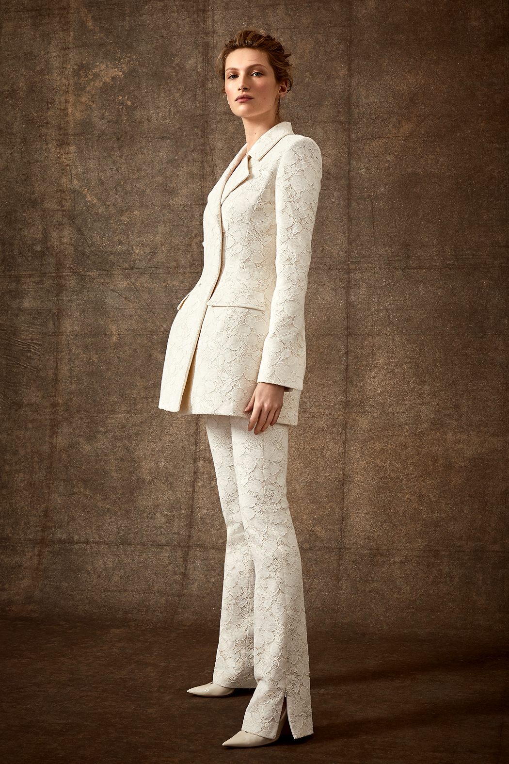 floral lace pantsuit v-neck wedding suit Danielle Frankel Spring 2020
