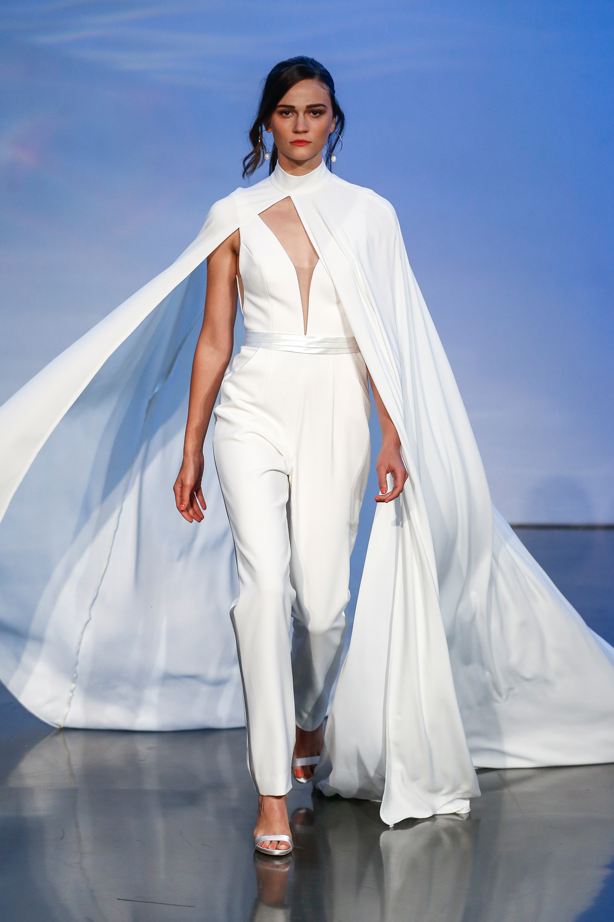 justin alexander signature fall 2019 deep v-neck jumpsuit with cape