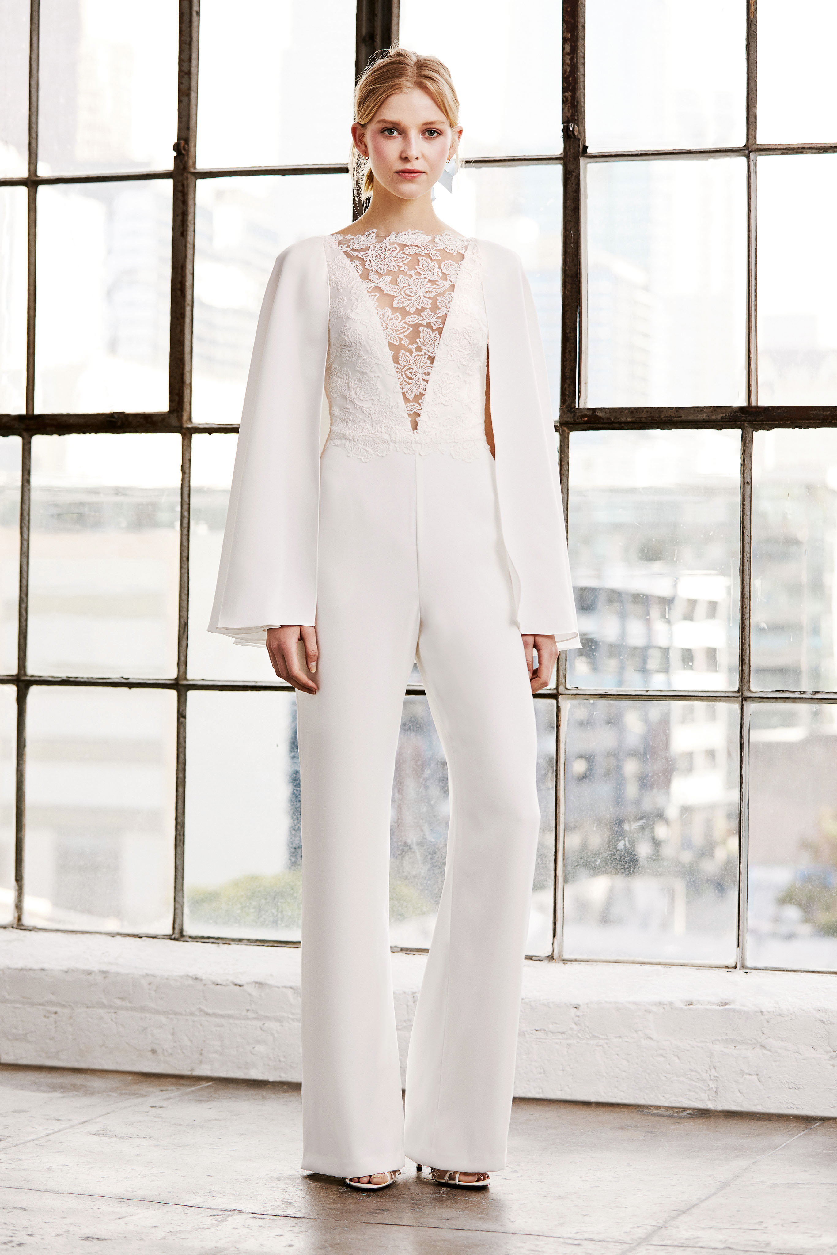 tadashi shoji wedding dress spring 2019 deep v long sleeves jump suit pants