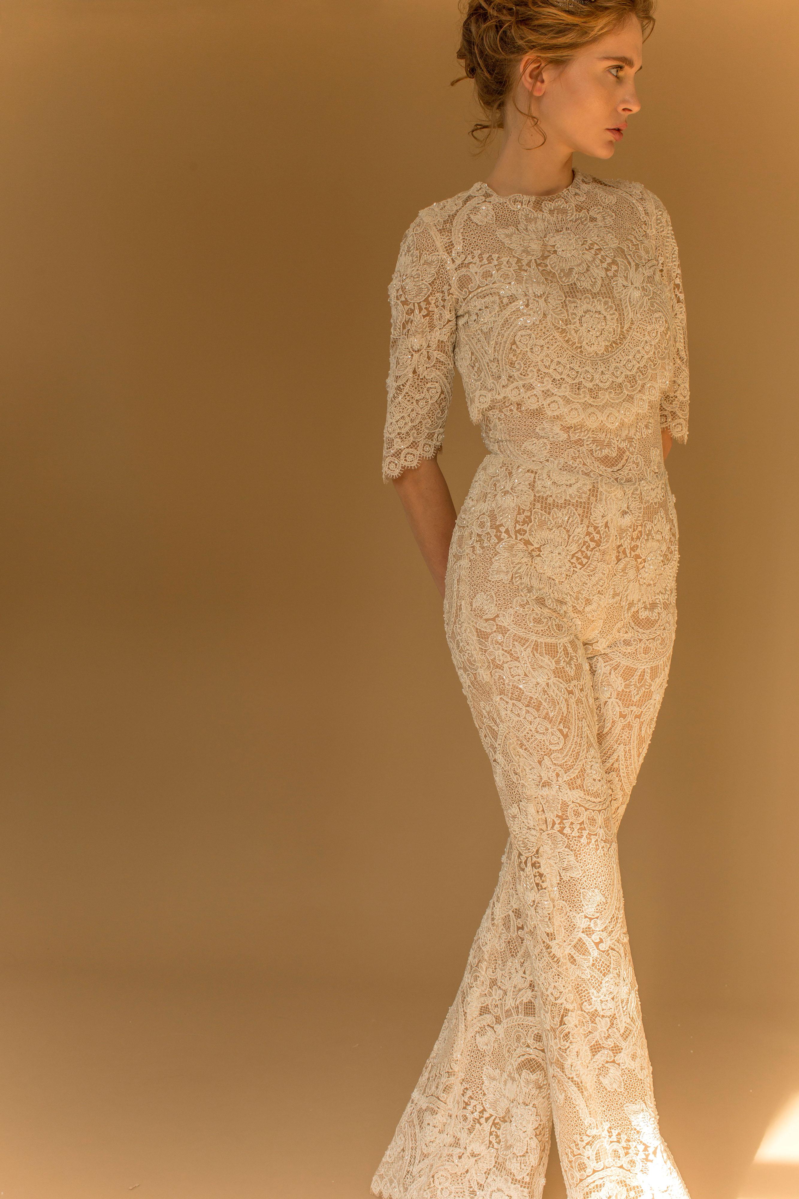 francesca miranda wedding dress fall 2018 jumpsuit lace three-quarter length sleeves
