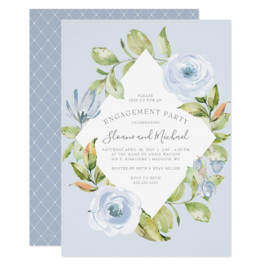 Zazzle Blue Floral Engagement Party Invitation