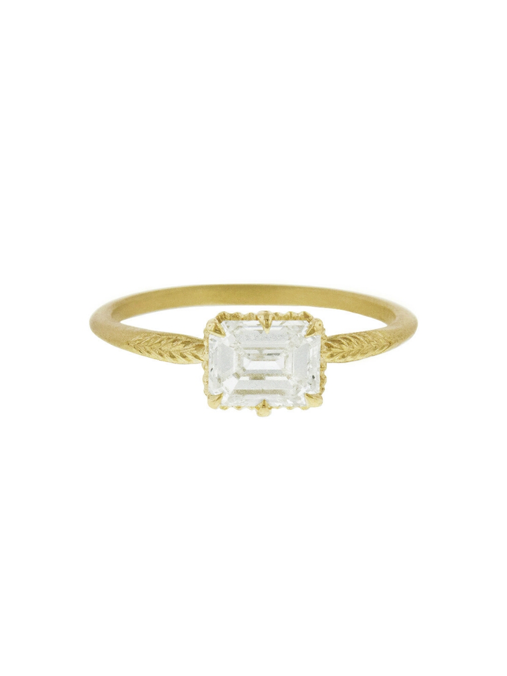 east west engagement rings gold emerald cut diamond ring