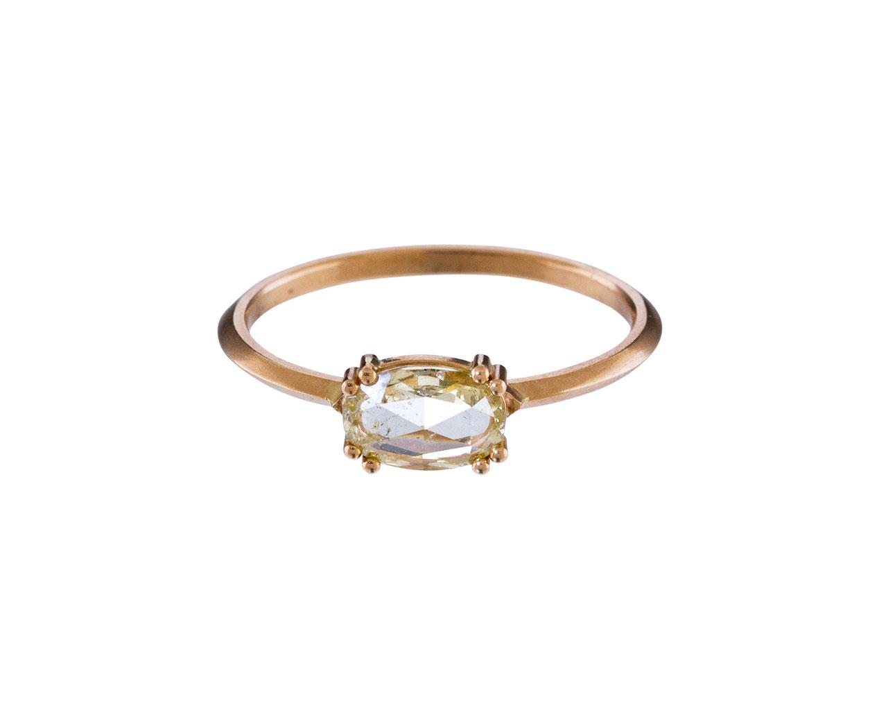 east west engagement champagne diamond solitaire