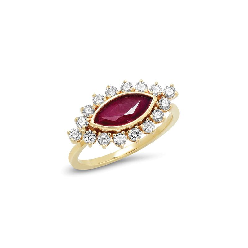 east west engagement rings ruby and diamond marquise ring