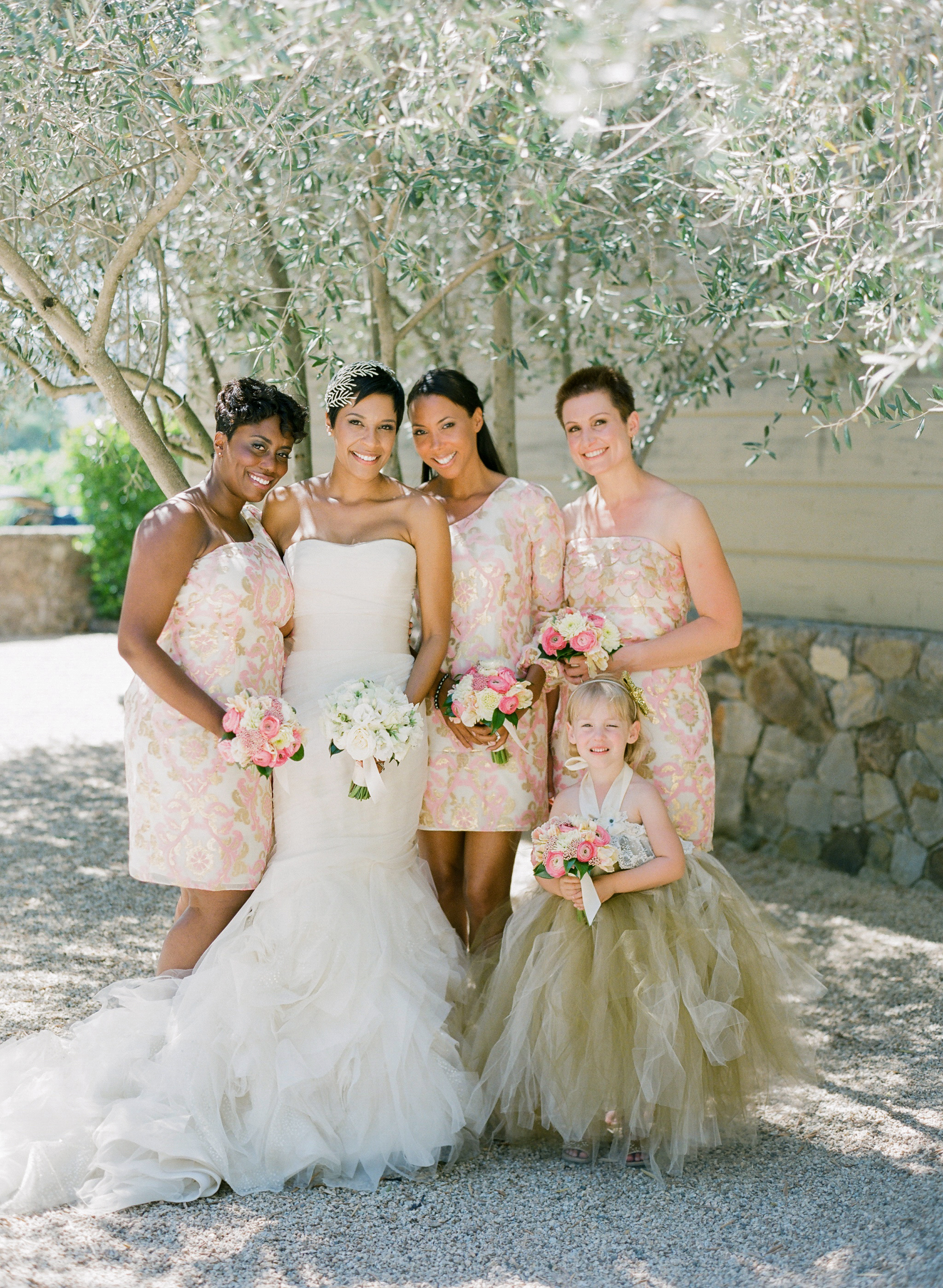 chic bridesmaids short gold and pink dress
