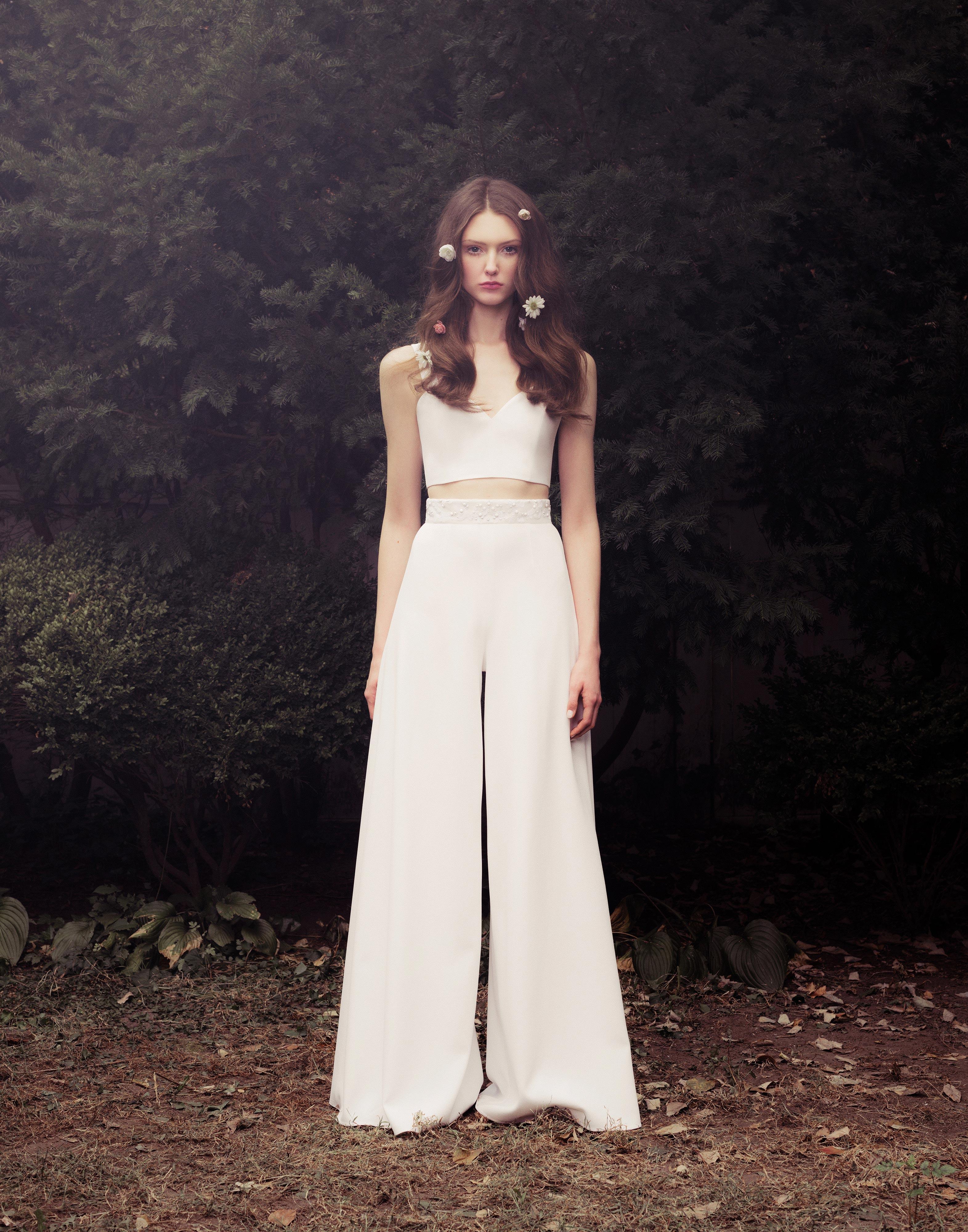 honor fall 2018 two piece high-waist trouser wedding dress