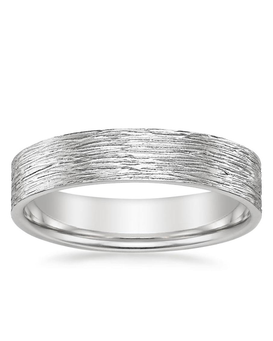 silver textured wedding band