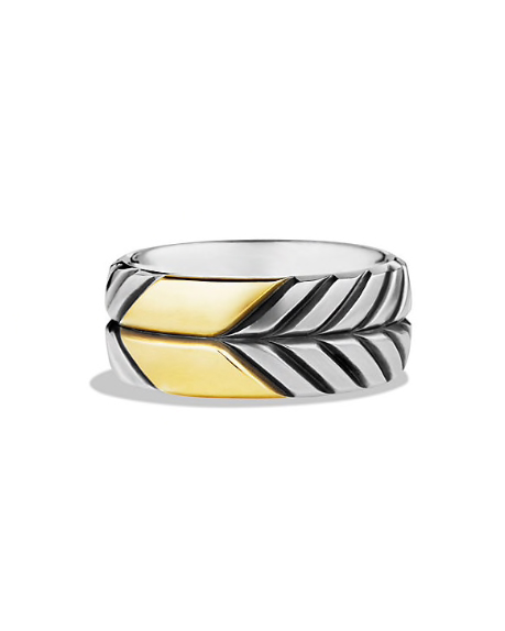 silver and gold etched wedding band