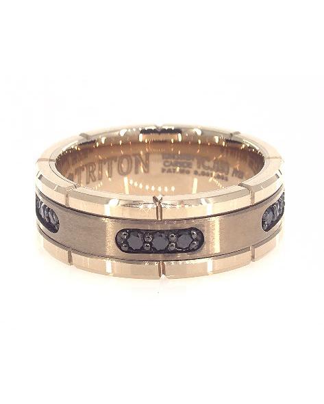 gold wedding band black stones