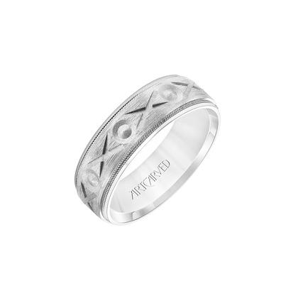 silver geometric design wedding band