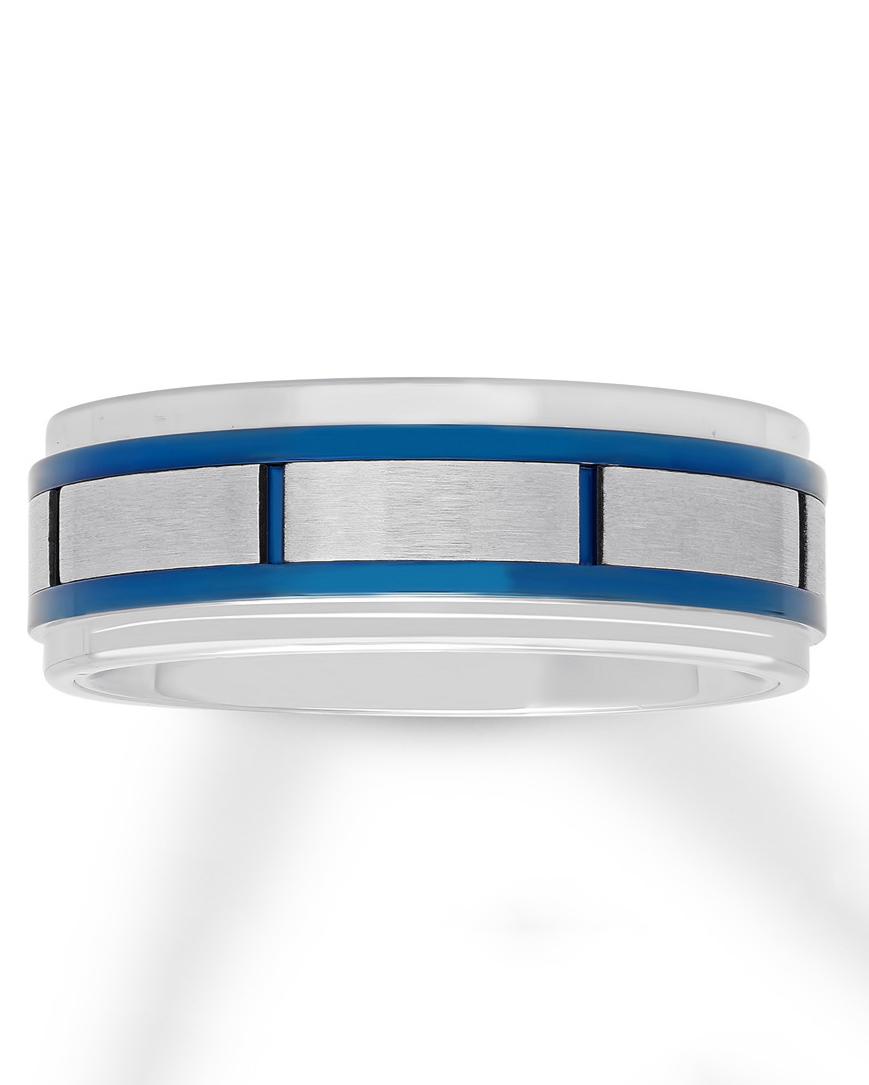 silver and blue geometric wedding band